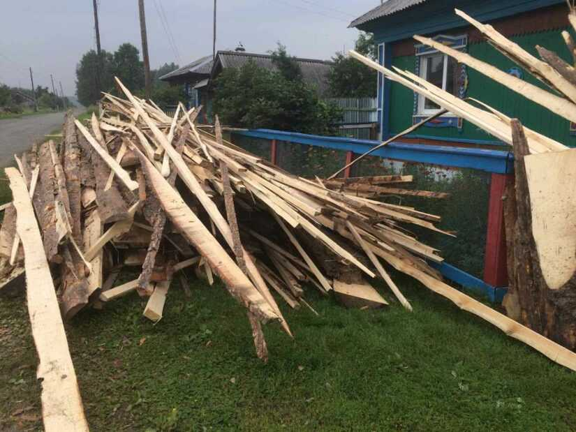 телега срезки с пилорамы на дрова