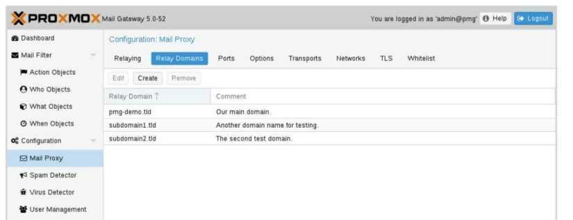почтовые домены proxmox mail gateway