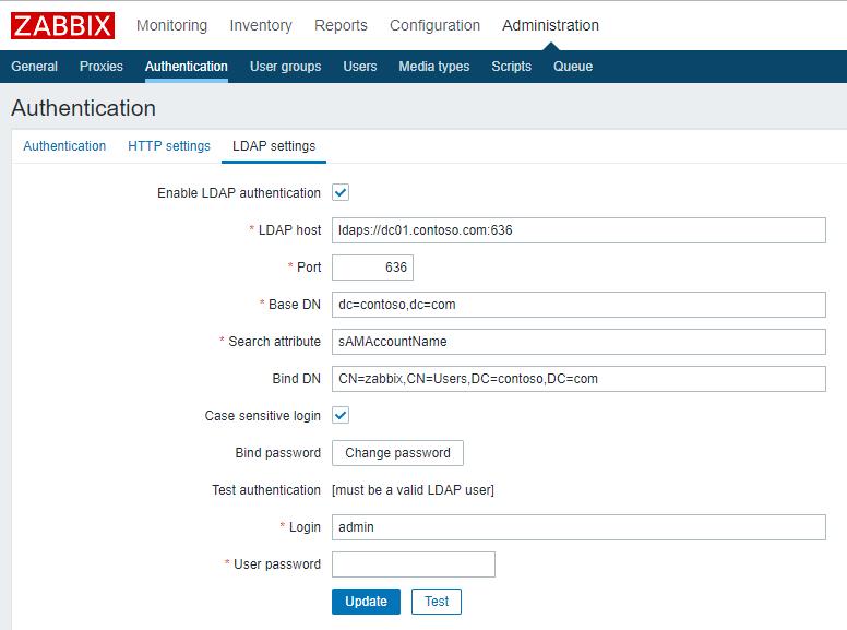 Zabbix аутентификация в Active Directroy через LDAPS